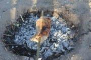 Meat roasting over coals